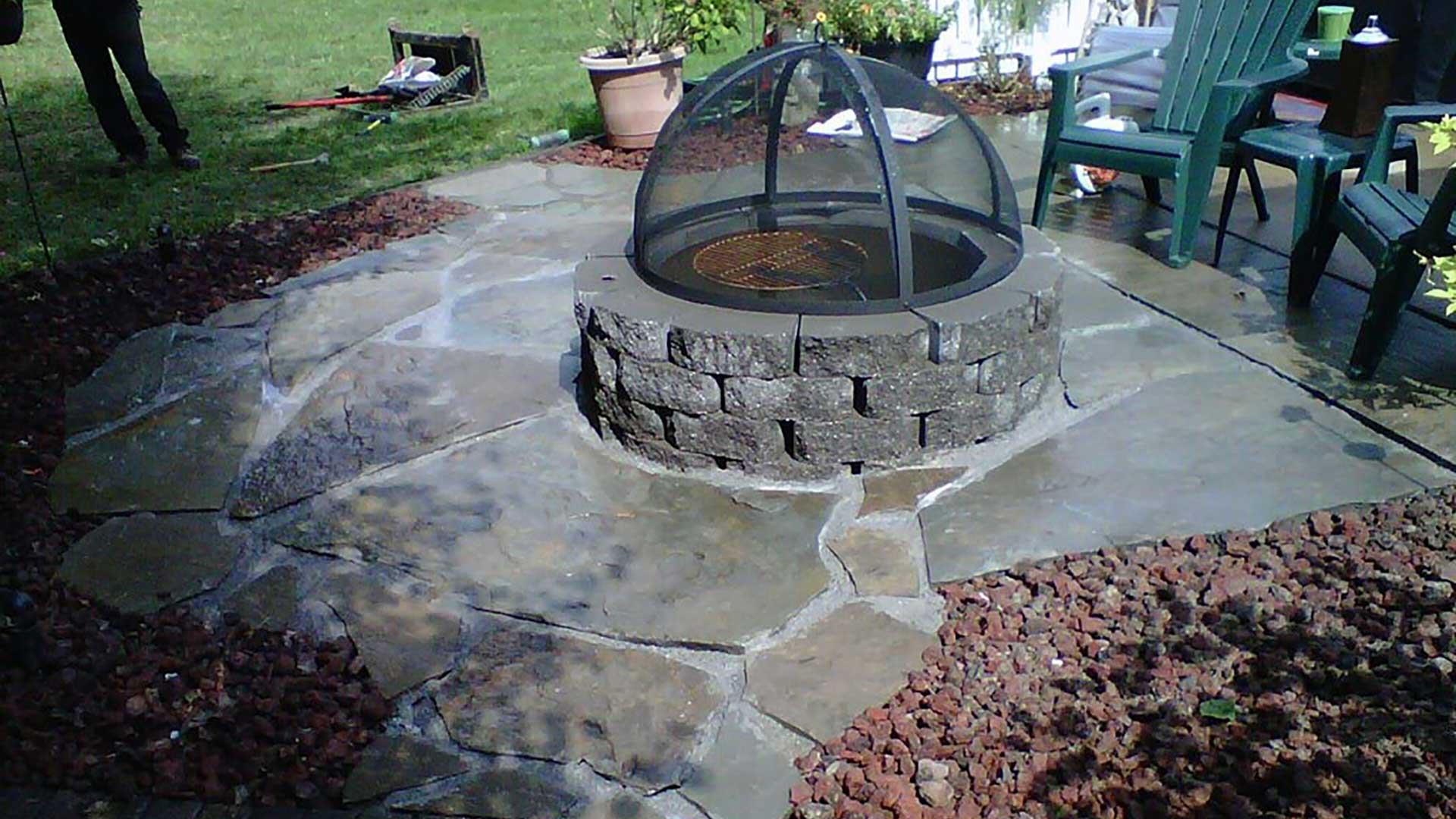 Custom fire pit built for a home in Belleville, IL.