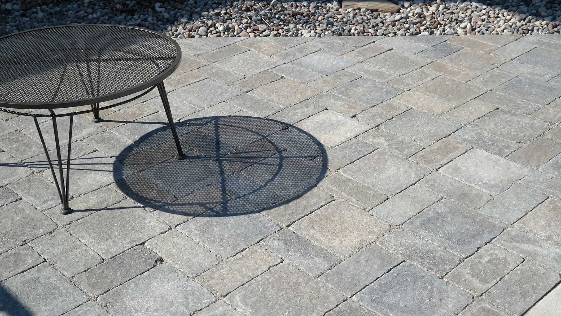 This custom paver patio in Waterloo, IL extends the homeowner's outdoor living space.