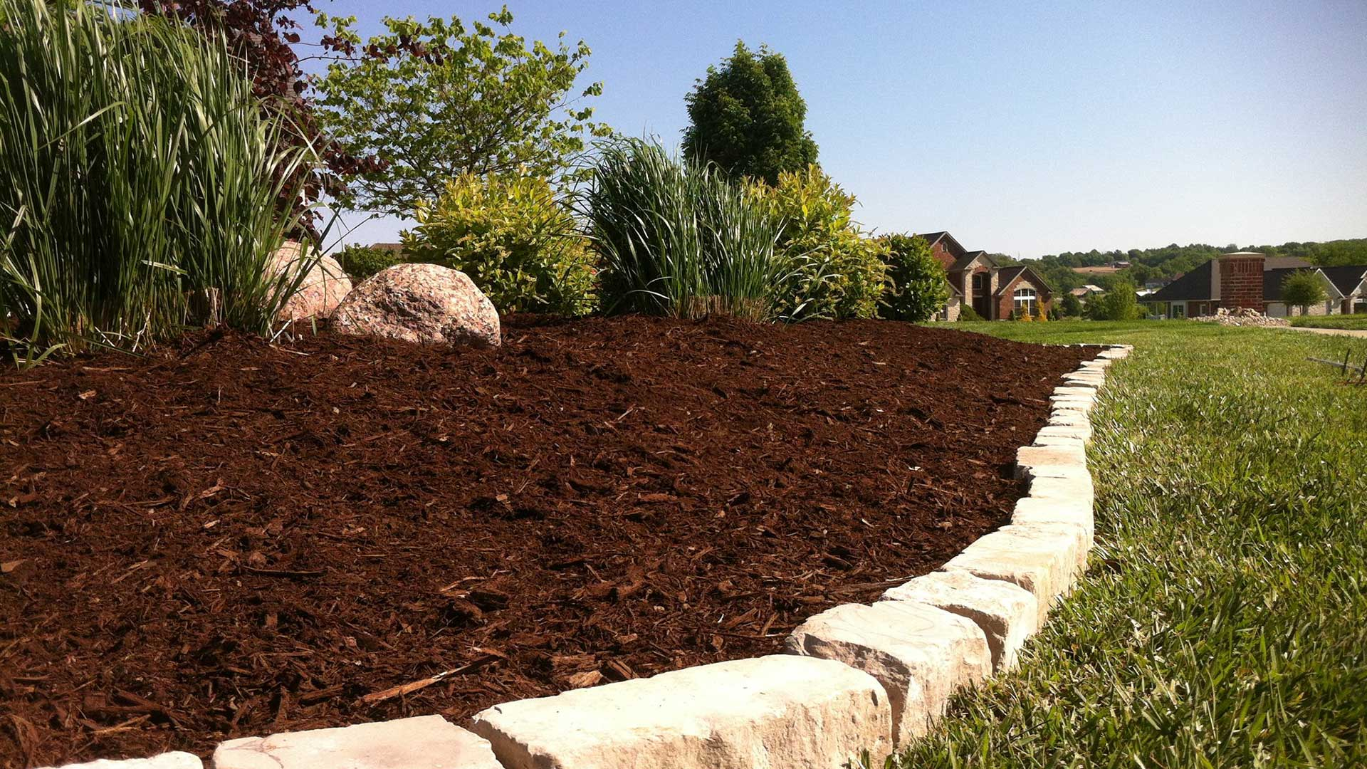 A new landscape bed installed for a property in Columbia, IL.