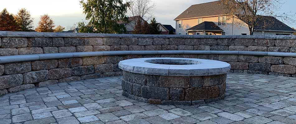 Paver patio and fire pit construction in Columbia, IL.