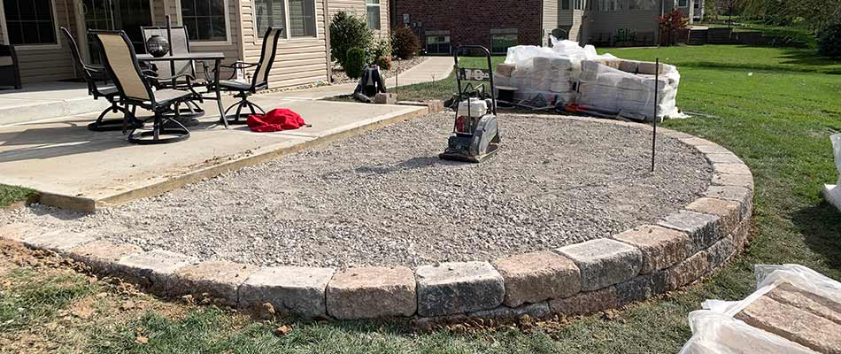 Paver patio under construction in Columbia, IL.