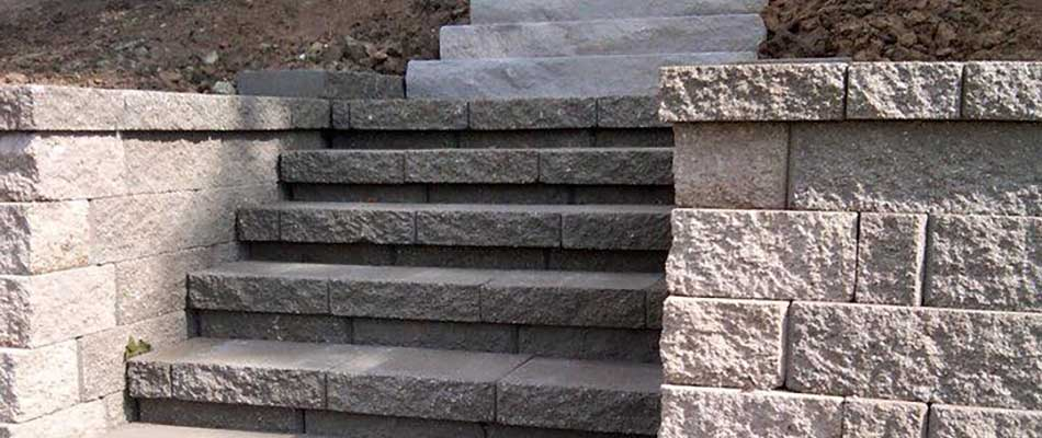 Custom stone steps created for a residential property in Millstadt, IL.
