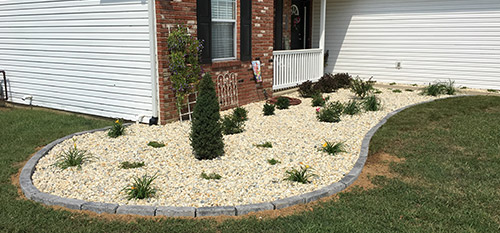 A recently installed landscape bed in Red Bud, IL.