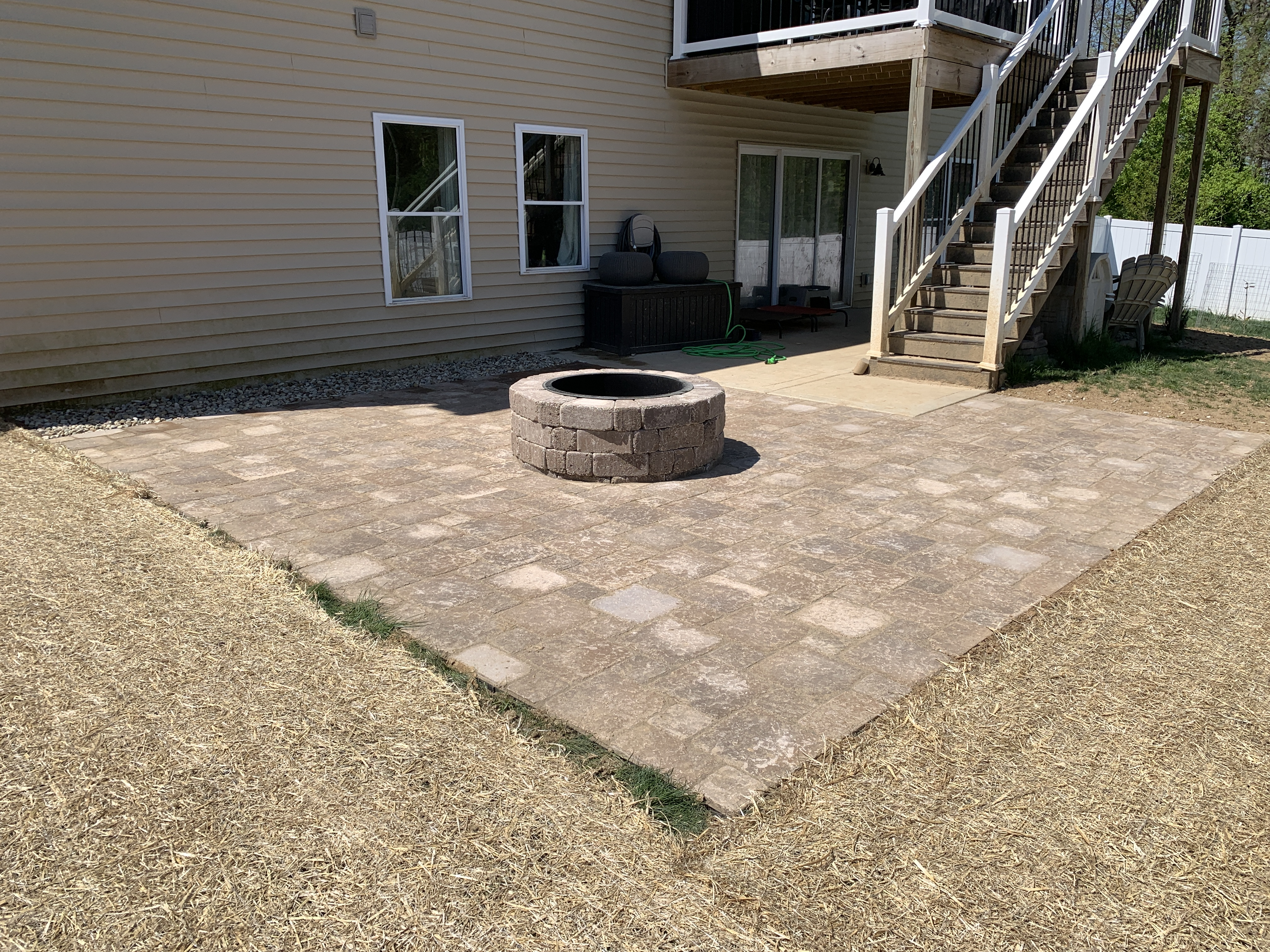 Outdoor Living - Romanstone Paver Patio Installation with Madera Fire Pit In Columbia, IL